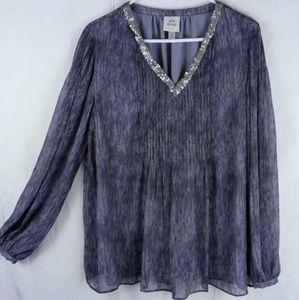 XL - Knox Rose Sheer Sequined Blouse Shirt